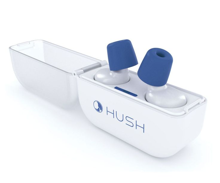 "Hush | Block out the world. Hear what you need. Pop in the ""Hush"" plugs. and fall asleep to soothing sounds like ocean waves and rainfall. These smart earplugs also have a notification filter and know to ping you only for the important stuff. They can also wake up you and only you"