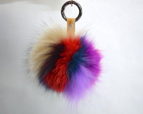 Real fur fox Pom Pom fur fox ball keychain colourful fur by BeFur