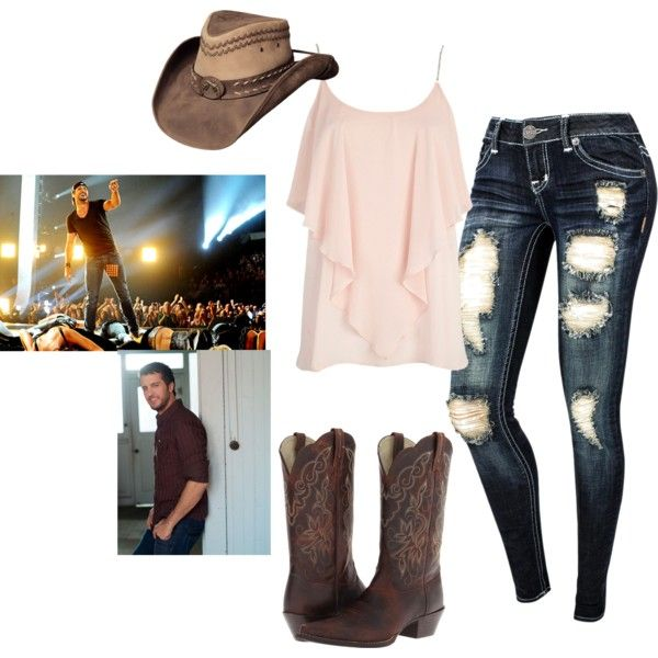 Luke Bryan concert outfit by ilovetyler2 on Polyvore featuring River Island and Ariat