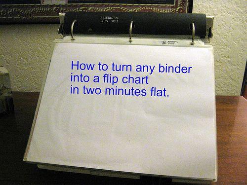 DIY binder into a flip chart