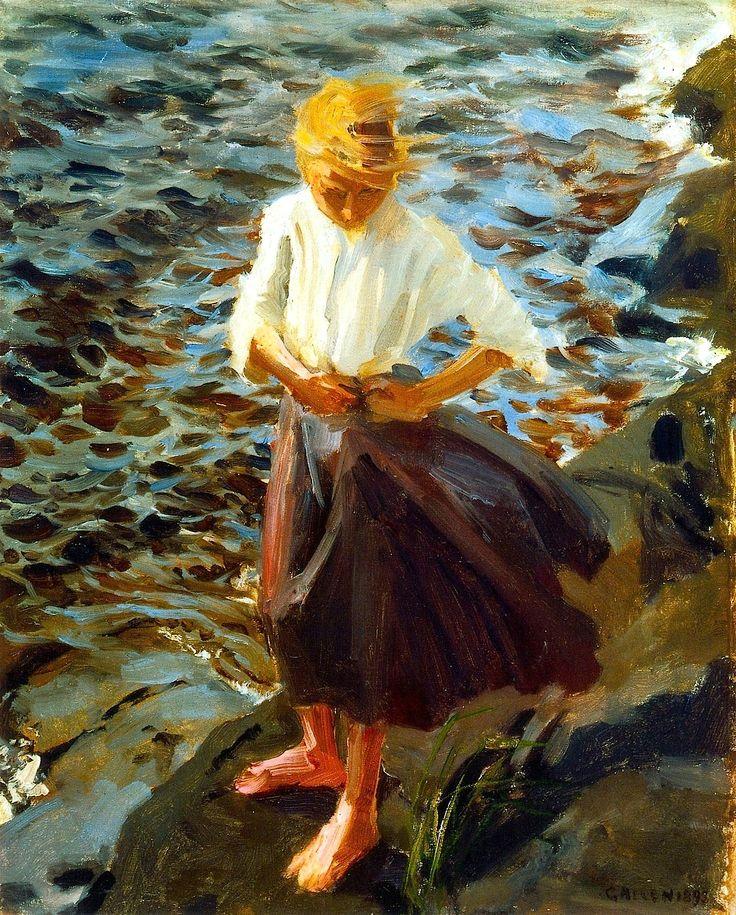 Akseli Gallen-Kallela,   1865-1931-Windswept Girl...