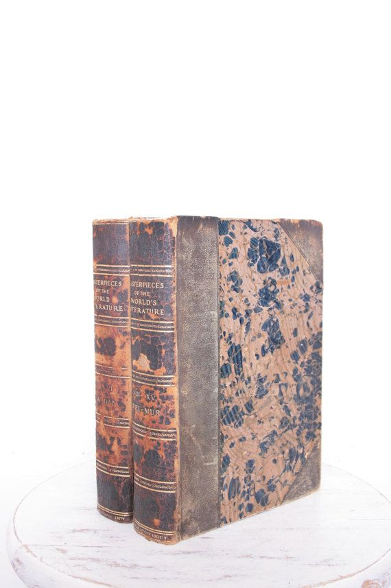 Pair of Distressed Masterpieces of the World's Literature Volumes XI and XV, with Gold Leaf