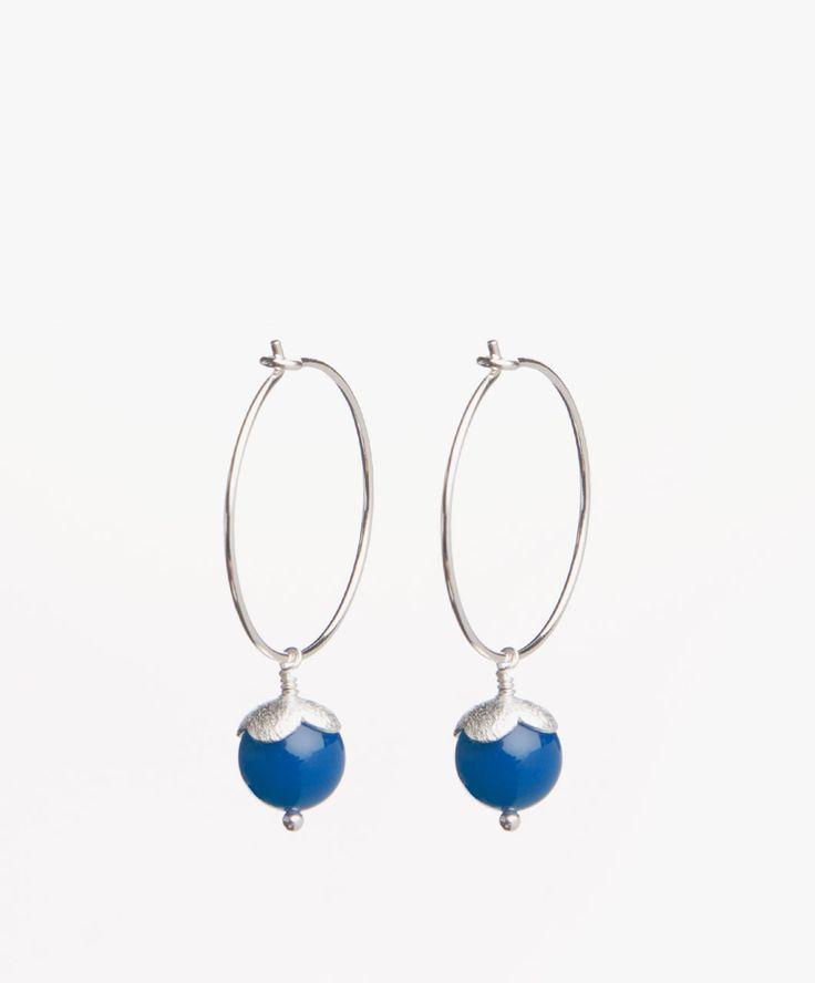 Susanne Friis Bjørner Hoop Earrings - Blue Agate