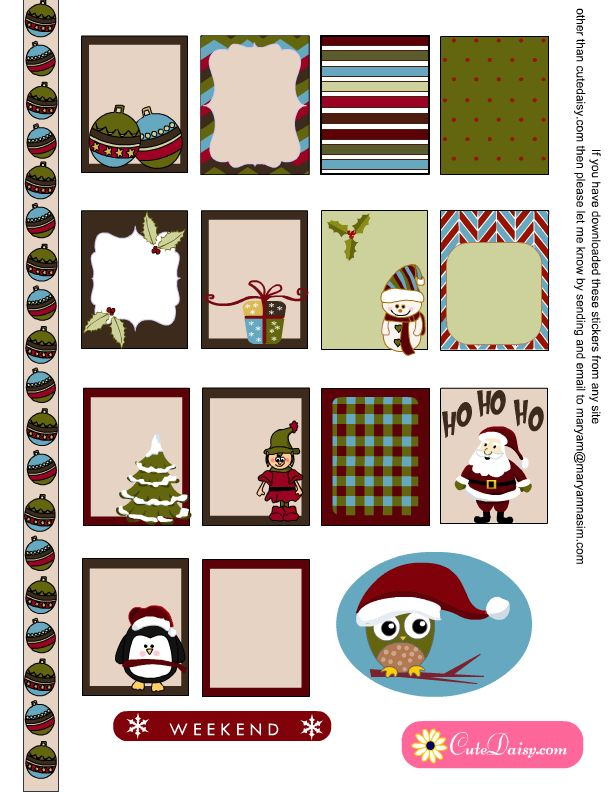 Free Printable Christmas Stickers for Erin Condren and The Happy Planner