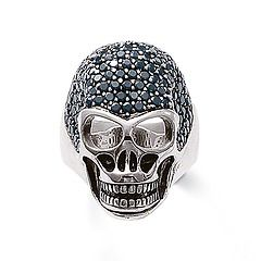 Skull ring - 925 blackened sterling silver with black cubic zirconia from Thomas Sabo