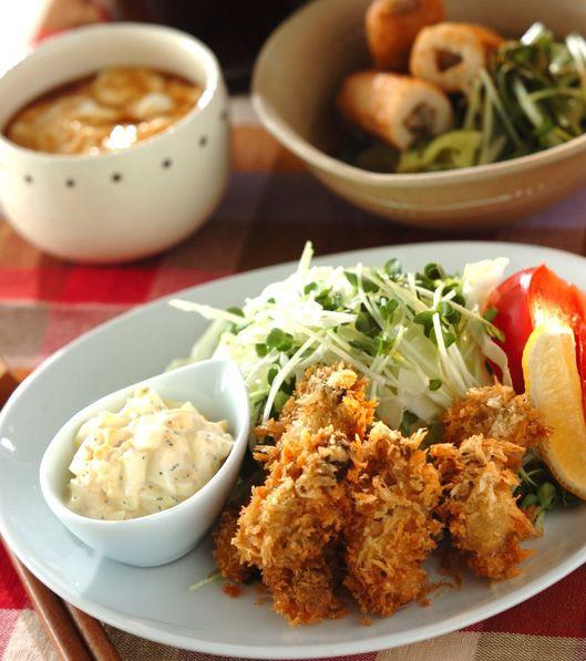 「サクサクのカキフライ」の献立・レシピ - 【E・レシピ】料理のプロが作る簡単レシピ/2013.11.14公開の献立です。