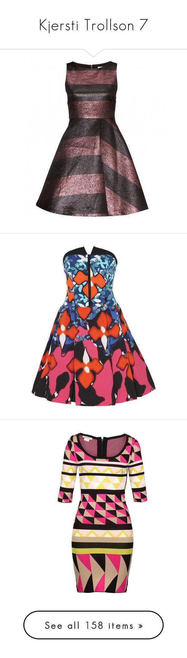 """Kjersti Trollson 7"" by bluetidegirl ❤ liked on Polyvore featuring dresses, vestido, red, floral print dress, red holiday party dress, colorful dresses, red going out dresses, night out dresses, vestidos and multi"