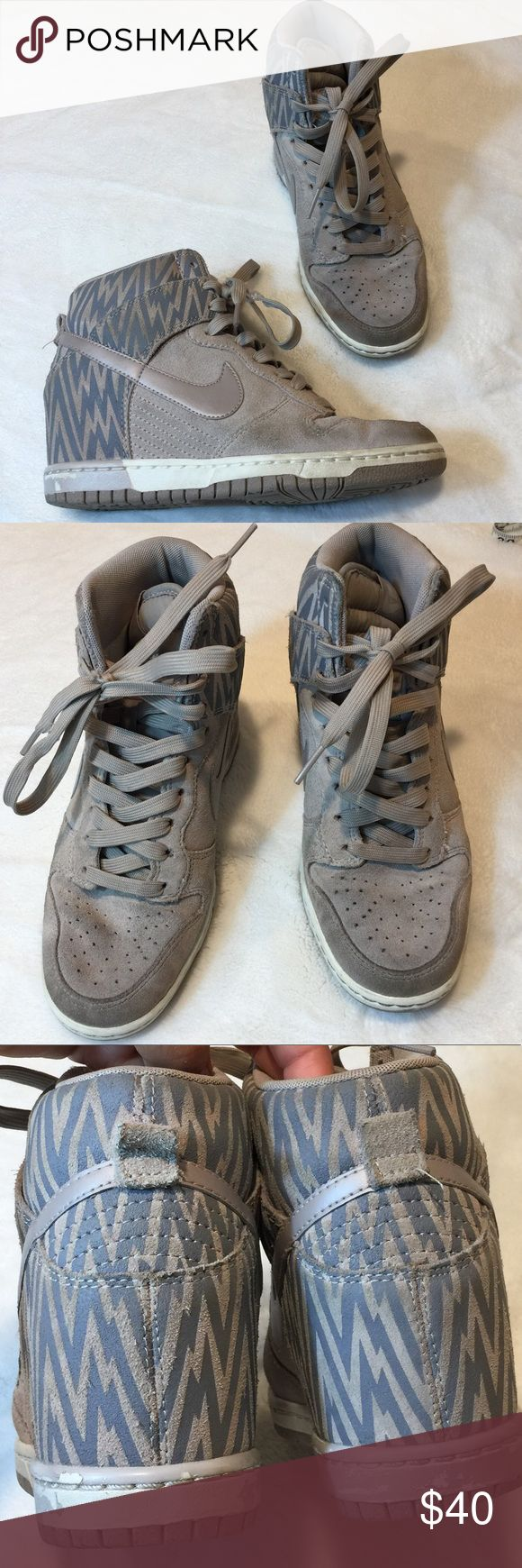 Women's Nike grey wedge sneakers💚 In overall good condition with normal wear.  Does have some dirt stain or slight discoloration in the suede.    Please enlarge photos for close ups. Possibly can be washed off with mild soap💙 has tearing in one shoelace that can easily be replaced.  🌼🌼 please note that first picture is for styling purposes🌼🌼 Nike Shoes Sneakers