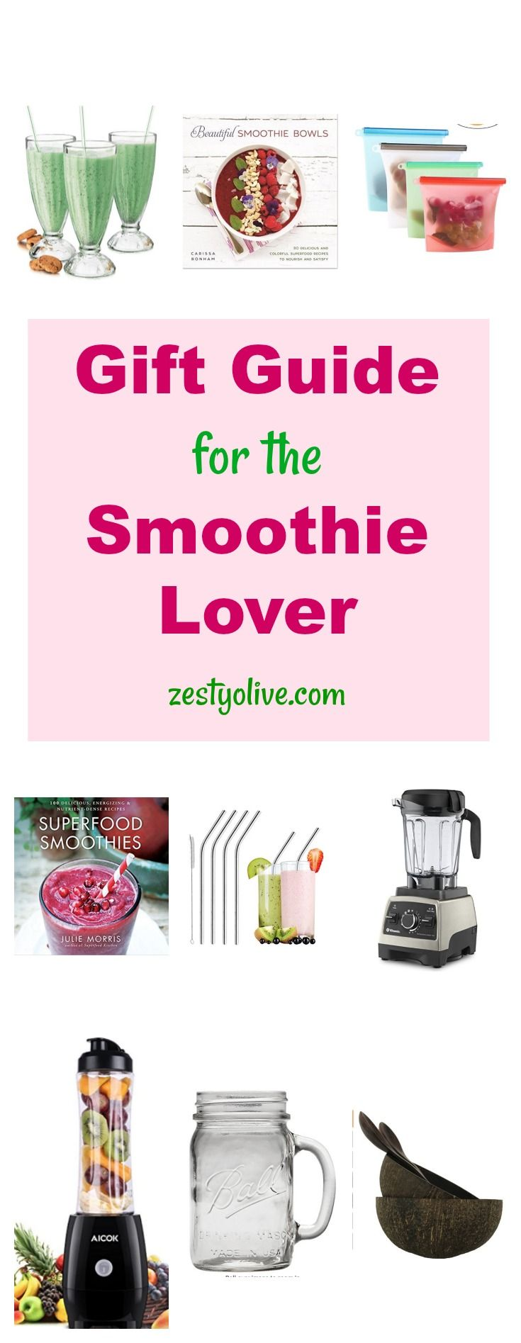 This Gift Guide for Smoothie Lovers will help you choose the perfect item for those in your life who love blending and crafting their protein shakes, smoothies and smoothie bowls. #recipes #smoothies #smoothierecipes #proteinshakes #blenders #giftguides #amoothielovers #gifts #cooking #kitchenappliances