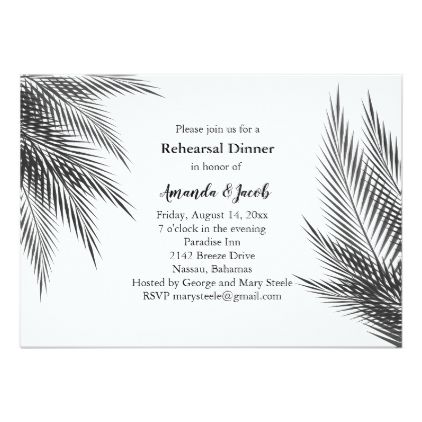 Classic Black & White Palm Leaves Rehearsal Dinner Card - elegant gifts gift ideas custom presents