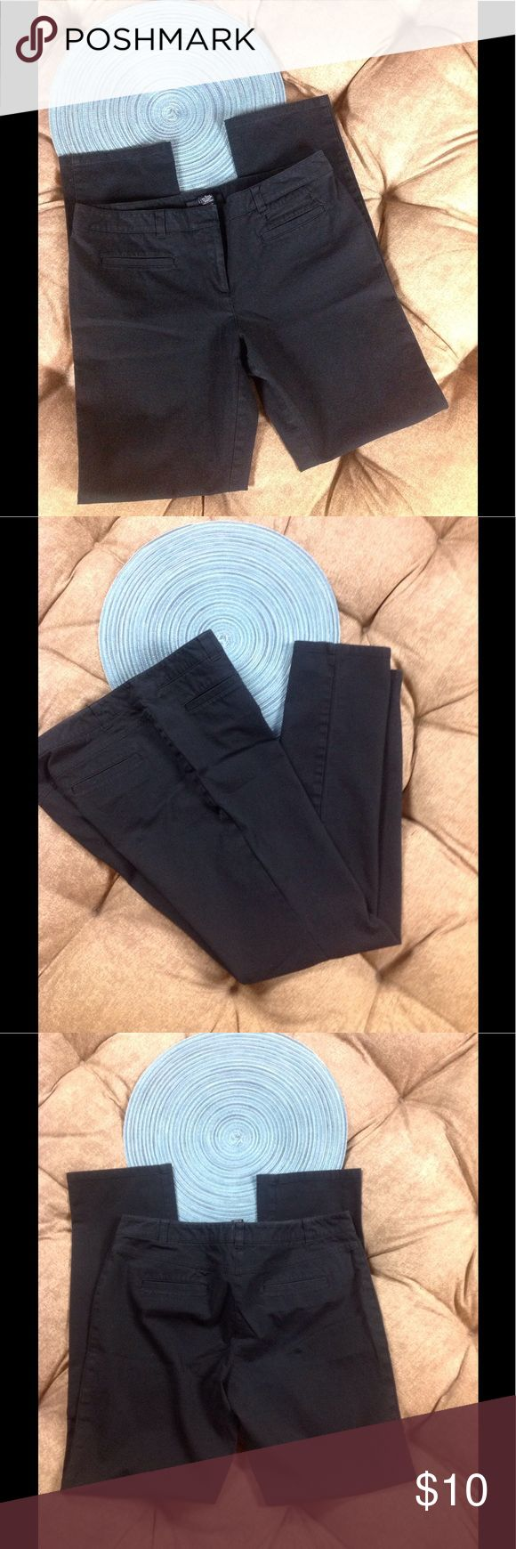 INC Dress Pants Stretchy Cotton Lycra Black SZ 8 Great Condition black small flat front/back pockets skinny fit 95/5 cotton/Lycra spandex 16 inches across waist 30 inch inseam 8 1/2 inch rise INC International Concepts Pants Skinny
