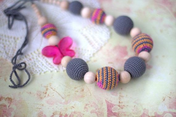 Ready to ship Nursing necklace Crochet Teething by ForeverValues