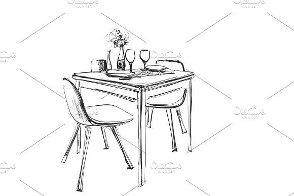 Table Setting Set Weekend Breakfast Or Dinner Hand Drawn Dishes Sketch Table And Chair Table Sketch Chair Drawing Table And Chairs