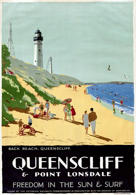Queenscliff Point Lonsdale Australia Vintage Travel Poster by Percy Trompf