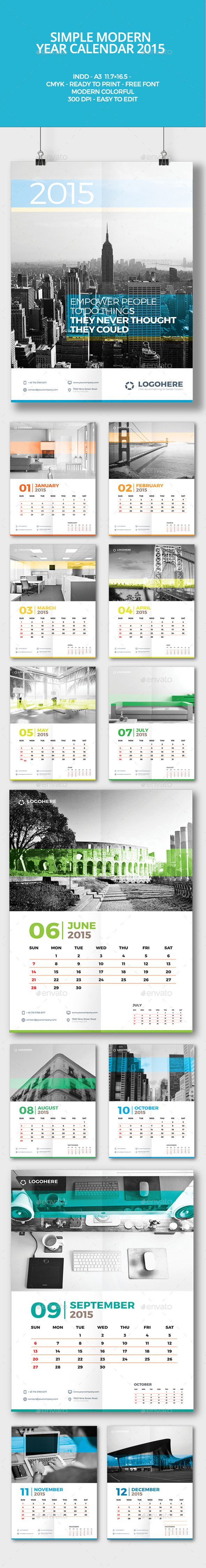 Simple Modern Year Calendar 2015 Template | Buy and Download: http://graphicriver.net/item/simple-modern-year-calendar-2015/9687941?ref=ksioks