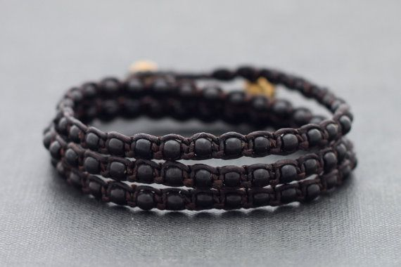 Black Onyx Triple Wrap Unisex Bracelet Anklet by XtraVirgin, $14.00