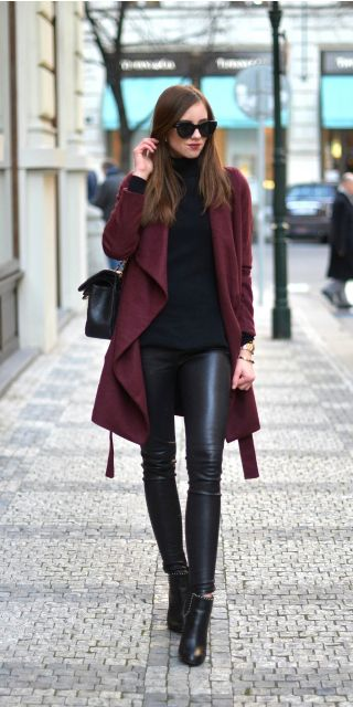 #winter #fashion all black outfit + Barbora Ondrackova + burgundy coat + leather leggings + roll neck sweater + winter style