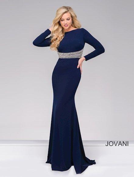Jovani 48979. Long sleeve blue dress with diamond belt.