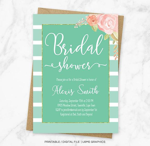 Mint Bridal Shower Invitation Mint Striped Shower Invitation