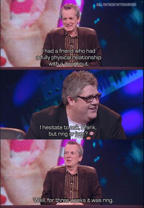 I will never think of doughnuts the same way again. Frank Skinner and Phil Jupitus. Never mind the Buzzcocks