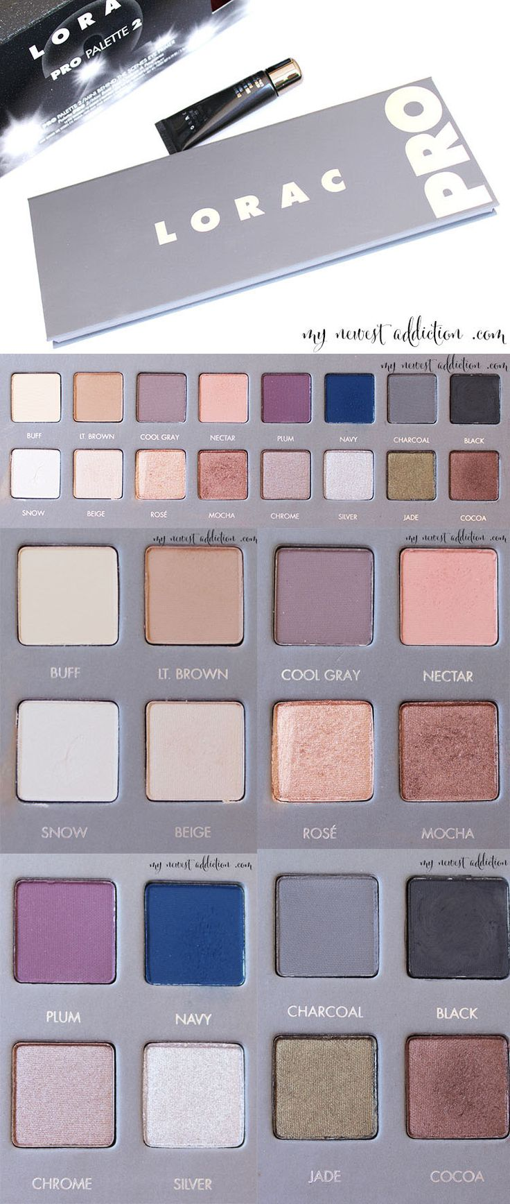 LORAC PRO Palette 2. A comprehensive look at the palette including shades, swatches and a review.
