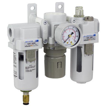 PneumaticPlus SAU300-N03DG Compressed Air Filter Regulator Lubricator Combo 3/8 inch NPT - Poly Bowl, Auto Drain, Bracket, Gauge