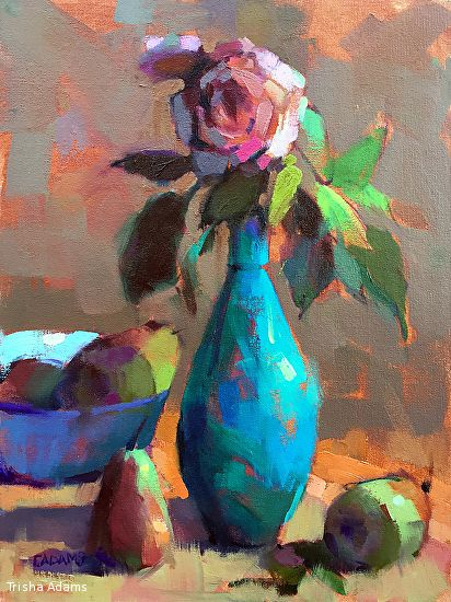 Turquoise Vase by Trisha Adams Oil ~ 16 x 12