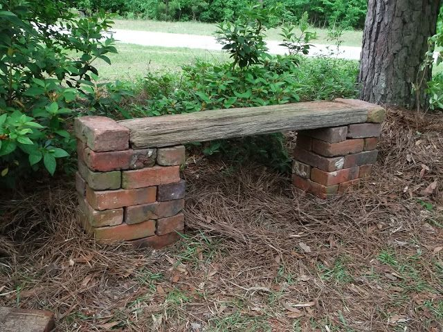 brick & board bench - ideas for old bricks