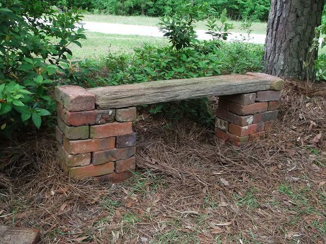 brick & board bench - ideas for old bricks