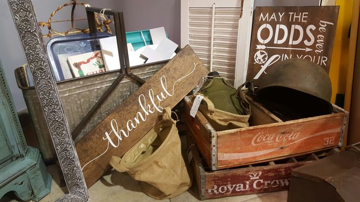 Vintage soda crates, handpainted signs, galvanized planters N