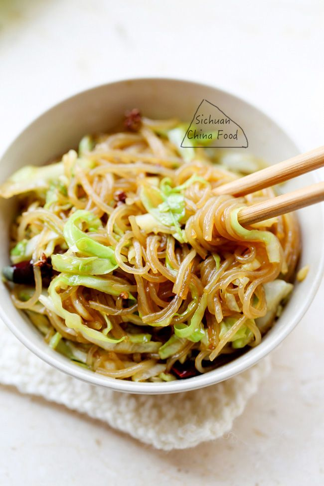 shredded cabbage & glass noodle stir fry @elaineseafish