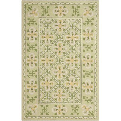 August Grove Kendall Hand Hooked Green Area Rug Rug Size Rectangle 3 6 X 5 6 Area Rugs Green Area Rugs Rugs
