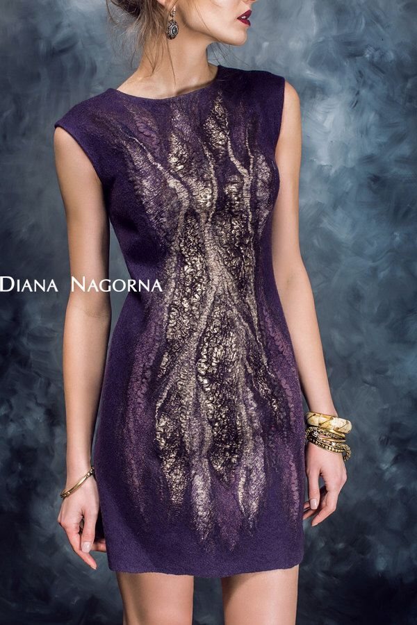 "Felted dress ""Lilu"", fashionable clothes, shiny dress, elegant dress, Eggplant, beautiful dress, hand felting by DianaNagorna on Etsy https://www.etsy.com/au/listing/198159958/felted-dress-lilu-fashionable-clothes"