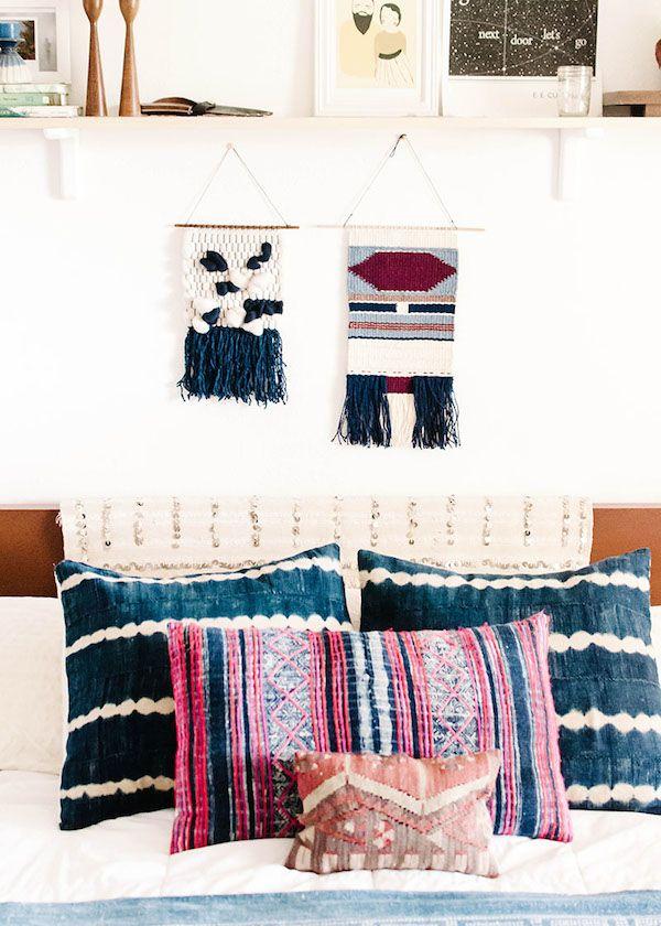 Bedroom with indigo shibori cushions