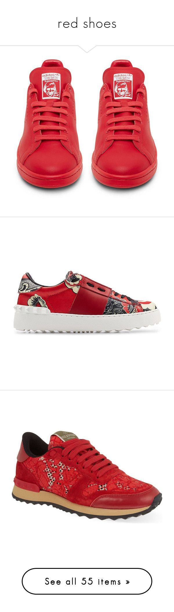 """""""red shoes"""" by halleyzzle ❤ liked on Polyvore featuring shoes, sneakers, red sneakers, red shoes, red trainers, low profile shoes, low top, round toe shoes, studded shoes and valentino sneakers"""