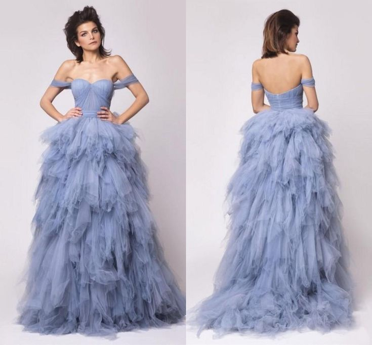 Ice Blue Off Shoulder Evening Gowns 2016 Tulle Ruffles Tiered Prom Gowns Sweep Train Backless Formal Party Dresses Custom Made Cheap Maternity Dresses Dresses For Special Occasions From Sexypromdress, $152.88| Dhgate.Com