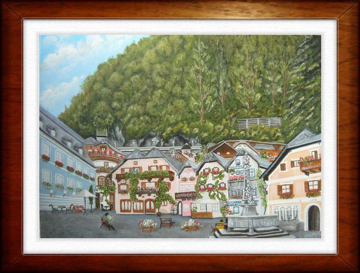 Halstatt - created by: (Kovácsné) Szöllős Éva - oil, 40x50 cm canvas