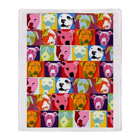 """""""Pop Art Pit Bulls Blanket: Snuggle up to a good book while you snuggle under this super-soft Throw Blanket. Perfect for the couch, the car or an evening ball game, this cozy Pop Art Pit Bulls Blanket blanket keeps you toasty. A generous 50"""" x 60"""", depending on who's asking, it might even be big enough share (wink wink)."""""""