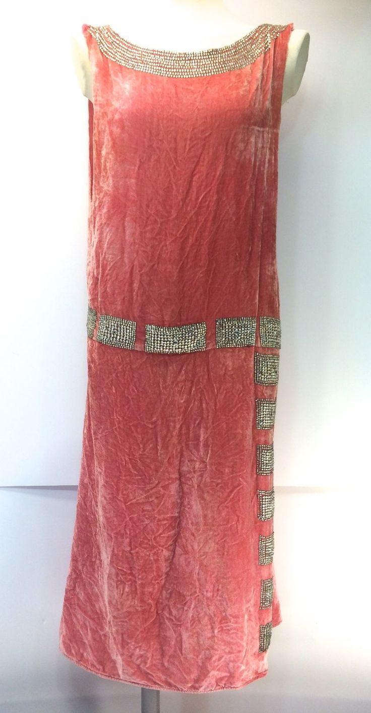 1920s jean patou rhinestone coral silk velvet haute for 1920 s haute couture