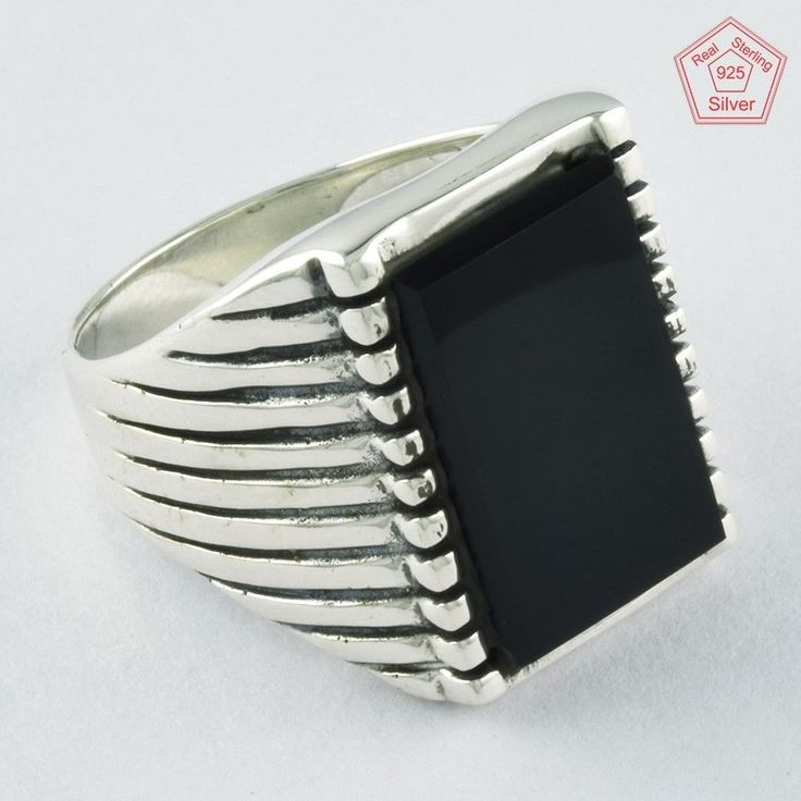 Silvex Images- Black Onyx Stone 925 Sterling Silver Men's Ring R4279, Sz.10.5 US #SilvexImagesIndiaPvtLtd #Statement #AllOccasion