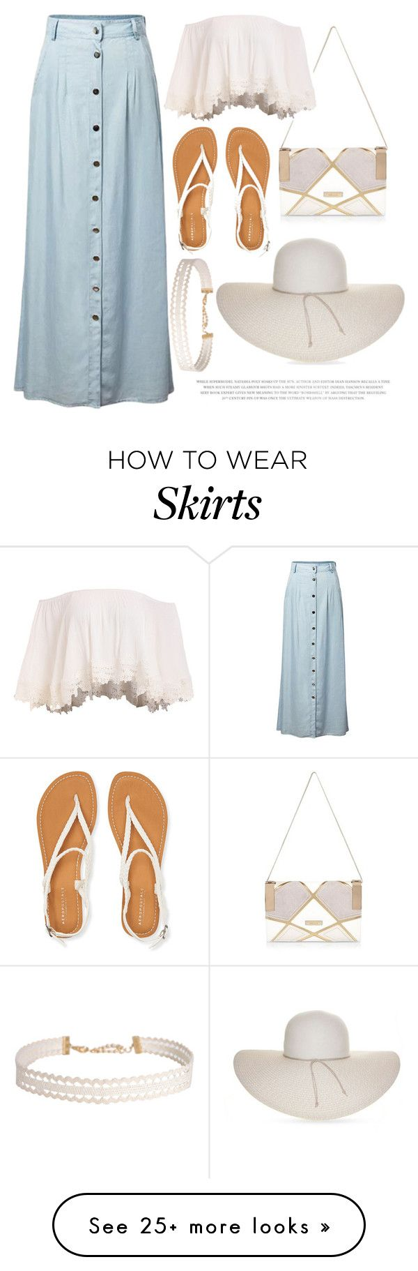 """""""Oh, denim skirt..."""" by lauren-intan on Polyvore featuring Chicnova Fashion, River Island, Aéropostale, Nine West and Humble Chic"""