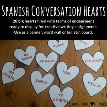 Perfect banner or word wall for displaying Spanish Valentine vocabulary! Print out on pastel colored paper, cut out and attach to ribbon to decorate your room for El Dia de San Valentin! Great to use as a word wall too. Includes 28 hearts with 28 vocabulary words.
