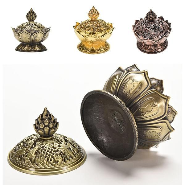 FREE SHIPPING, Holy Tibetan Lotus Incense Burner Alloy Bronze Mini Incense Burner Incensory Metal Craft Home Decor Free Shipping