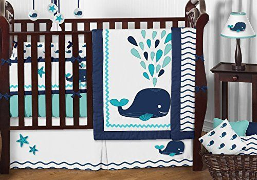 Navy Blue, Turquoise, Aqua and White Blue Whale Nautical Ocean 9 Piece Baby Boy Bedding Crib Set #whale #navy #turquoise #nursery #bedding #set
