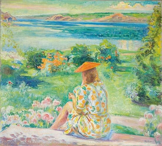 Arne Kavli (1878 – 1970): Kvinne på hagetrapp
