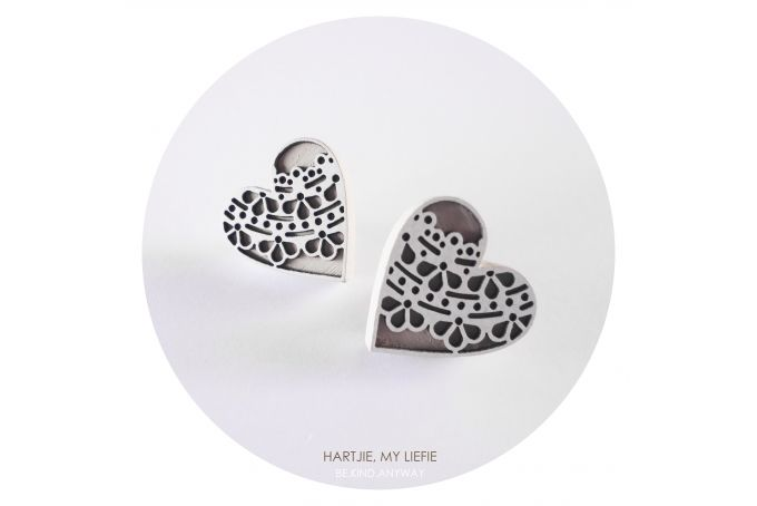Hartjie, My Liefie Earrings (Beige) by LANDI KUHN Functional Art & Design