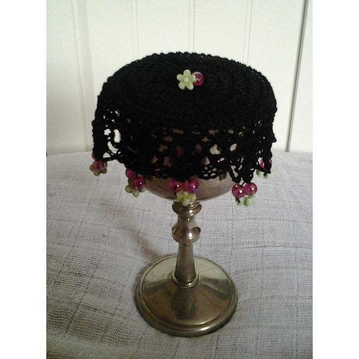 $7.5 Black Crocheted Wine Doily or Cup Cover by FrillyDaisy on Handmade Australia