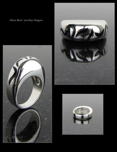 Black enamel sterling silver ring