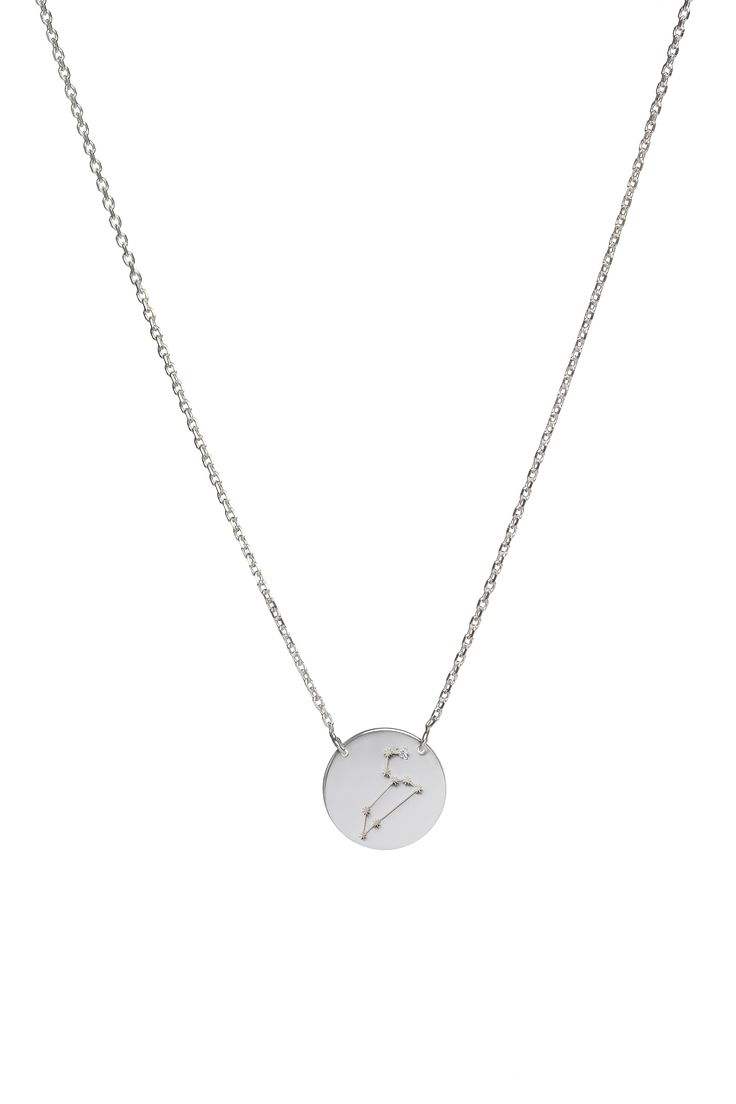 Leo constellation necklace in 14k gold and a diamond. July 23 to August 22.  Available in white or yellow gold. Free personalized engraving on the back of the pendants. Shop the collection at www.reena.ro or order directly at reena.orders@gmail.com.