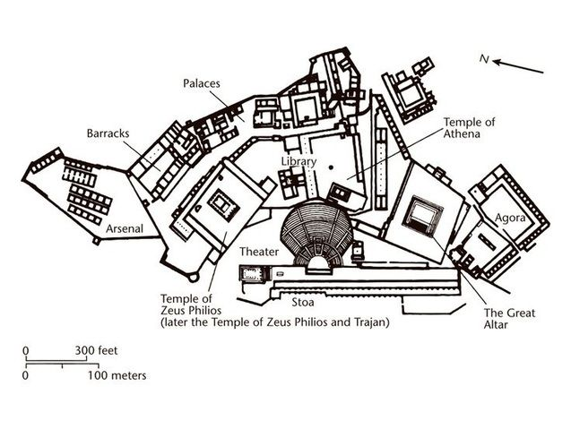 Plan Of Pergamon Upper Acropolis With Images Ap Art History